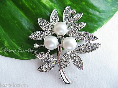 Vintage White Freshwater Pearl Platinum Plated Tree of Life Brooches Corsage