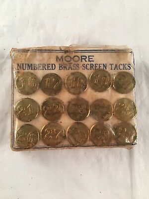 Vintage Moore 15 Brass Screen Tacks Numbers Steampunk Mixed Media Assemblage Lot