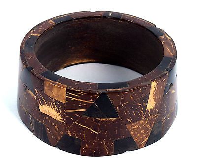 Vintage Jewelry Indian Stylist Wood Bangle Nice Mosaic Inlay Bracelet. i8-8 UK