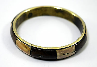 Unique Vintage Indian Jewelry Brass Bangle Wood Ivr Fittings Bracelet. i8-52 UK