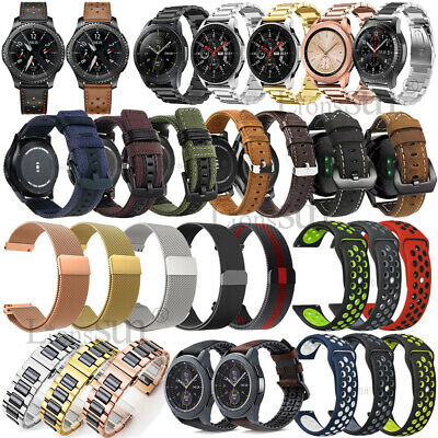 Leather Stainless Steel Watch Strap Band Fr Samsung Gear S3/SPORT/46mm/Huawei GT