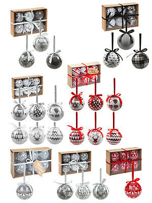 Red Grey Set of 6 Nordic Baubles Black Contemporary Christmas Tree Decoration