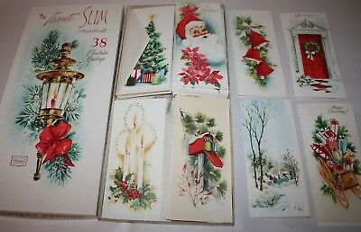 VTG Mid Century SEARS Christmas Greeting Cards W/Box - Includes 23 of 38 Cards