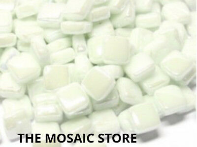 Iridised White 8mm Glass Tiles - Micro Small Mosaic Tiles Supplies