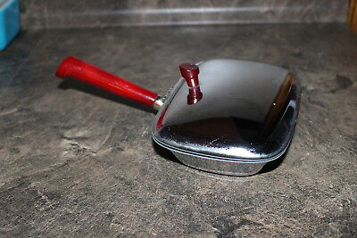 Vintage Glo-Hill Red Bakelite and Chrome Warming Pan no glass insert