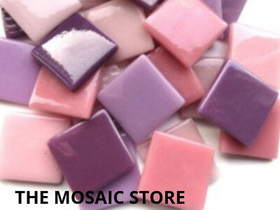 Pink & Purple Mix Gloss Glass Tiles 2.5cm - Mosaic Art Craft Tiles Supplies