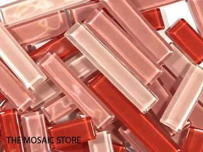 Red Mixed Glass Rectangles | Mosaic Art Craft Tiles Supplies