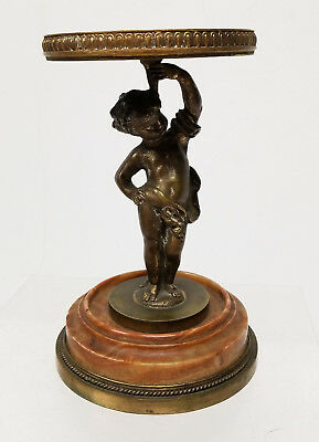 Antique Brass Bronze Cupid Cherub Figural Candle Stick Holder Marble