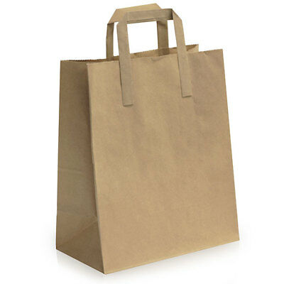 Brown 250x300x140 mm SOS Takeaway Kraft Paper Carrier Bag with Flat Handle Cheap