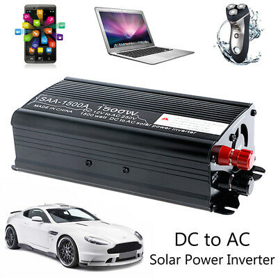 Solar Power Inverter 1500W 12V DC To 230V AC Sine Wave Auto Max 3000W Converter