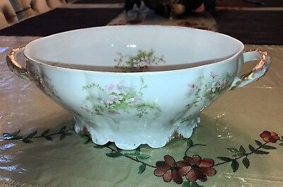 Antique Theodore Haviland Limoges France Porcelain Oval Serving Bowl Floral
