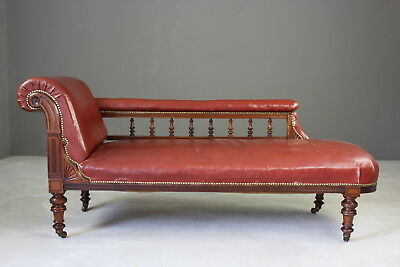 Antique Victorian Spindle Back Leather Chaise Longue Sofa Daybed