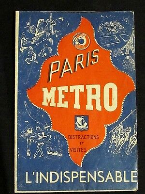 Plan carte Métro Paris l'Indispensable Distractions et Visites  circa 1940