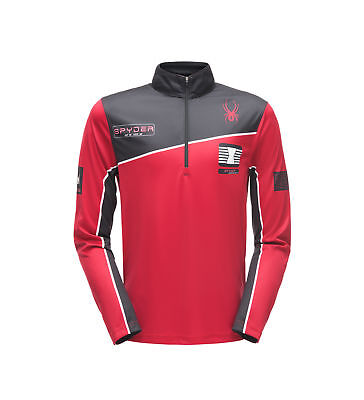 Spyder Mens Limitless Wengen Zip T-Neck Skirolli (red/black)