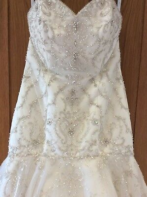 Ivory Alfred Angelo Fit Flare Dropped Mermaid Beaded Tulle Wedding Dress Size 12