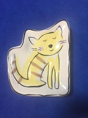 Jenny Faw Striped Yellow Colored Kitty Cat Soap Sponge Dish Trinket Tray