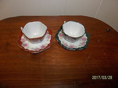 2 Rose Tea Cups W/matching Plates