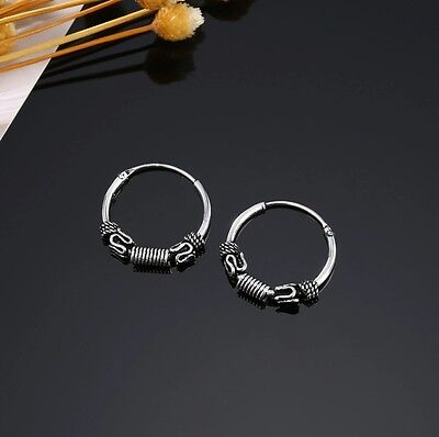 12mm North America European Vintage Small 925 Sterling Silver thin hoops Earring