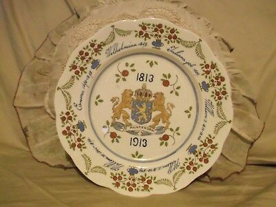 """Antique 10"""" Gouda Dutch Realm plate Rulers of Holland & ensign from 1813-1913"""