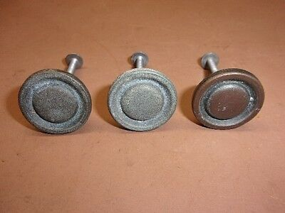 """3 Solid Brass Cabinet Drawer Pulls Round 1"""" Knobs Great Aged Patina Nice Ones BH"""