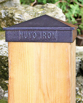 "Nuvo Iron PCP16 8"" x 8"" or 7-1/2"" x 7-1/2"" PYRAMID POST CAP BLACK DRESS UNDRESS"