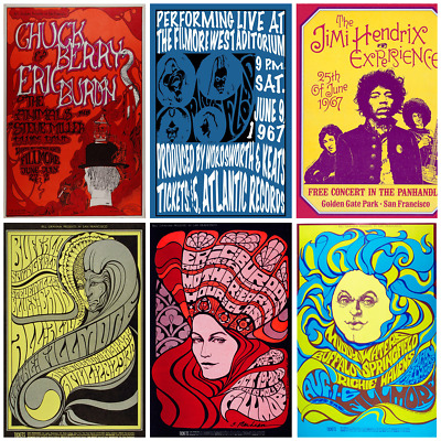 Psychedelic Posters Vintage 60s 70s Concert  Pink Floyd, Hendrix, Fillmore.