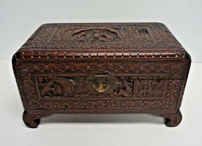 Exceptional Vintage Chinese Camphor Hinged Carved Wood Good Luck Chest Box
