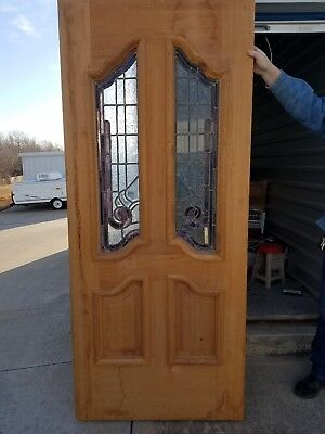 Vintage Solid Wood Front Door with Multi/Color Leaded Stain Glass Panels