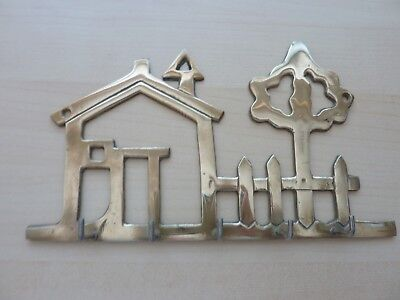 Vintage Solid Brass Wall Mount Key Holder House And Tree 5 Hooks