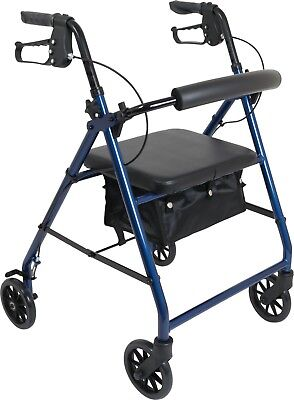 Aluminum Rollator Rolling Walker Medical Curved Back Soft Seat + Various Colors