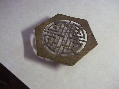 Vintage Asian Footed SOLID BRASS TRIVET Hot Pad #2