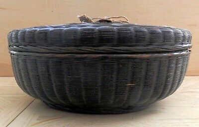 """Vintage 12"""" Dia. Chinese Bamboo Black Sewing Basket W/ Lucky Coin"""