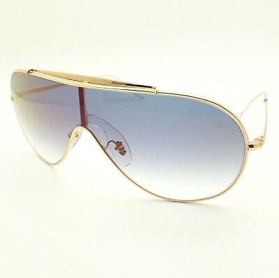 8544c67cb7 Ray Ban 3597 001 X0 Gold Blue Fade Red Mirror Wings Shield Sunglasses  Authentic