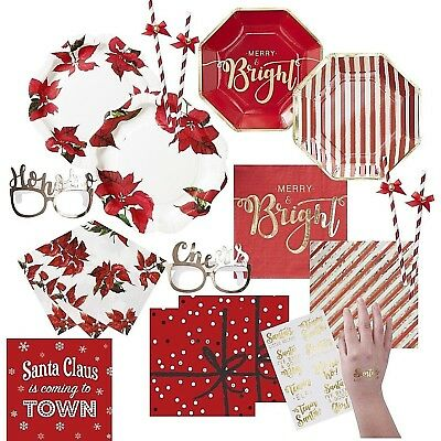 Red Gold POINSETTIA Traditional Christmas Plates Napkins PARTYWARE TABLEWARE
