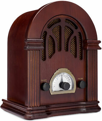 ClearClick Retro AM FM Radio with Bluetooth - Classic Wooden Vintage Retro