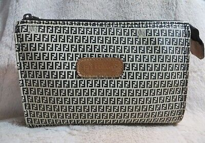0ebee794ef FENDI Roma Italy 1925 S.A.S VINTAGE Black Beige PVC Canvas Zucchino  Cosmetic Bag