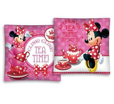 NEW Disney MINNIE Mouse TEA TIME pink cushion cover 40x40cm 100% COTTON