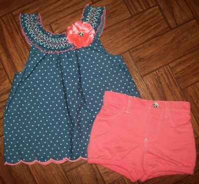 4fcf4042f488 Little Lass Girls Outfit Sz 5 Blue White Dot Top Pink Knit Shorts Back to  School