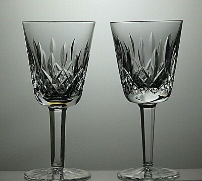 """2 Waterford Crystal 'lismore' Cut Glass Claret Wine Glasses Marked- 5 1/2"""" Tall"""