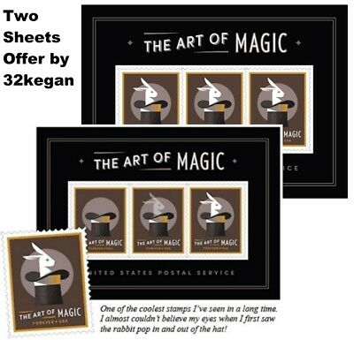 TWO (2) US Scott 5306 Art of Magic Rabbit in the Hat Souvenir Sheets w/ BONUSES