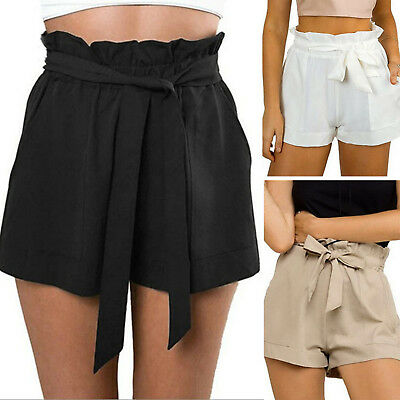 Women Ladies Belt Summer Casual Shorts Holiday Beach Hot Pant UK Size 8 10 12 14