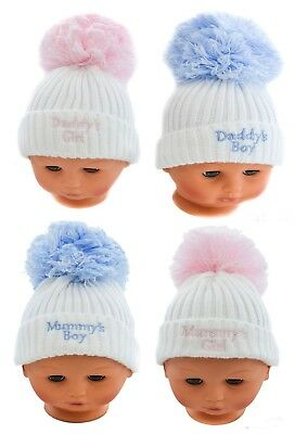 Baby Boys Girls Cable Knitted Pom Pom Hat With Embroidery Daddy/Mummy Boy Girl