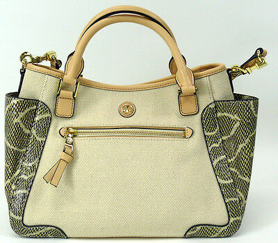 62d9e66b8998 NWT Tory Burch Natural Canvas Embossed Snake Leather Small Satchel  485