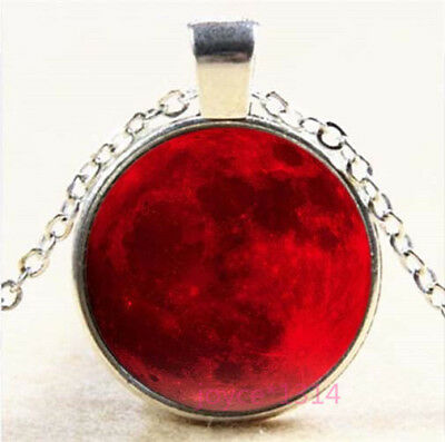 Red Full Moon Cabochon Silver/Bronze/Black/Gold Chain Pendant Necklace #7688