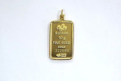 999.9 Fine Gold Pamp Suisse 10 Gram Bar in 14k Yellow Gold Pendant