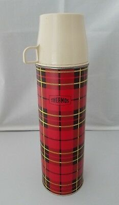 Vintage 1964 Red Plaid Thermos King Seeley Quart Size #2442