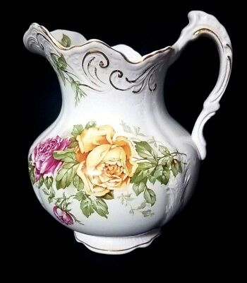 Buffalo Pottery 1904 - 1916 Vintage Pitcher Yellow / Pink Roses