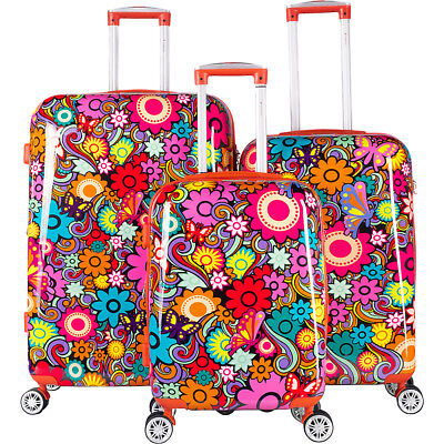 Gabbiano Floral 3 Piece Hardside Expandable Spinner Luggage Set NEW