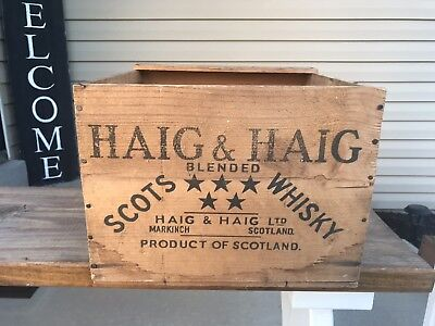 Vintage Haig & Haig Scots Whisky Whiskey Wood Crate Scotland