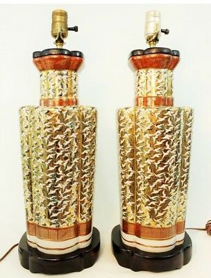 PAIR of JAPANESE KUTANI TABLE LAMPS PORCELAIN,  GOLD CRANE DESIGN w/Wooden Base